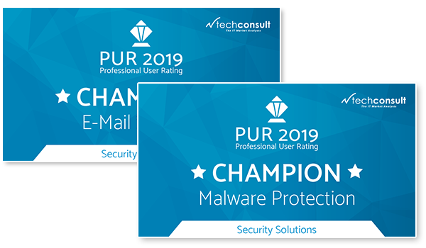 "Auszeichnung techconsult Professional User Rating 2019 ""Malware Protection"" und ""E-Mail Security"""